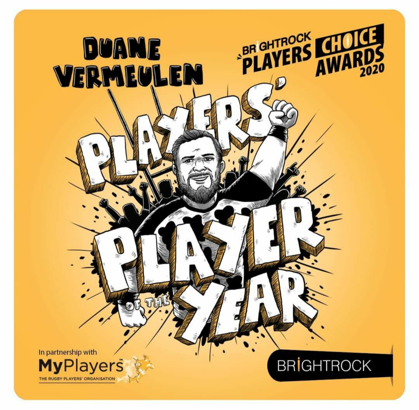 Duane Vermeulen leads the pack at BrightRock Players' Choice Awards 2020
